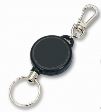 Retractable Keyreel with karabiner belt loop, keyring attachment and a Stainless Steel cord.